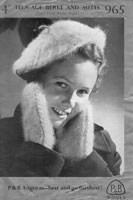 vintage girls angora beret and mittens knitting pattern from 1940s