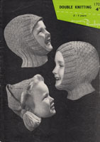 vintage boys and girls knitting pattern fro hats from 1940s