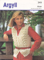 vintage ladies aran waist coat knitting pattern 1980s