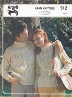 mens and ladies vintage knitting pattern for aran sweater 1970s