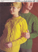 ladies and mens vintage knitting pattern for aran style jumpers in double knitting 1960s