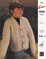 vintage boys aran cardigan 1960s knitting pattern