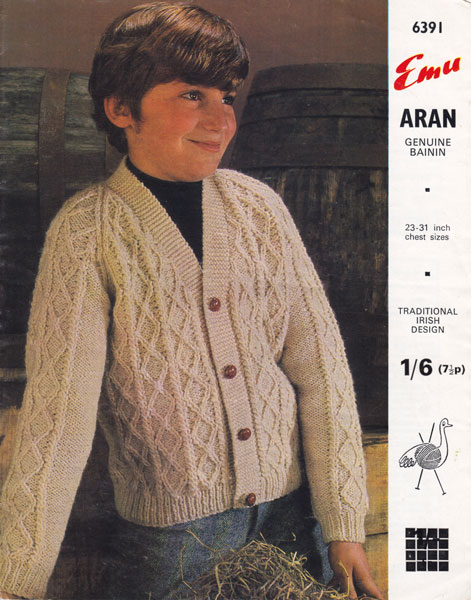 Vintage Aran Cardigan Knitting Pattern : vintage boys aran cardigan 1960s knitting pattern