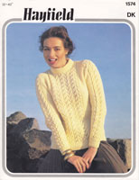 vintage  ladies aran style jumper in double knitting jumper 1980s