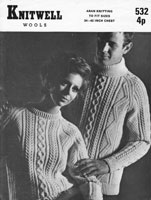 vintage aran polo neck sweater mens or ladies knitting pattern 1970s