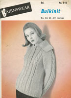 vintage aran ladies jumper pattern