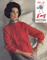 vintage ladies aran knitting pattern for jumper and hat