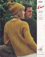 vintage knitting pattern in aran for ladies hat and jumper