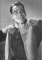 vintage knitting pattern for men's scarf and gloves 1940s