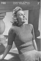 vintage knitting pattern for ladies jumper 1940s