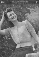 vintage ladies knitting pattern for jumper 1940s