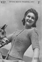 vintage knitting pattern for ladies cardigan 1940s