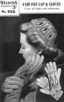 vintage ladies cap and gloves knitting pattern from 1940s weldon 556
