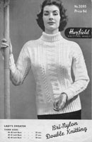 vintage ladies cable knitting pattern 1950s hayfield