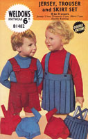 childs sweater skirt and trouser set vintage knitting pattern 1950s