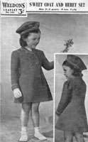 vintage girls coat and hat knitting pattern 1940s