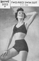vintage knitting lpattern for bikini 1940s swim suit knitting patterns