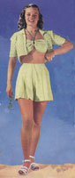 vintage knitting ladies beach wear 1940s