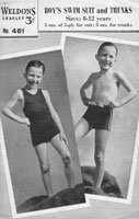 vintage knitting pattern for boys swim siut 1940s