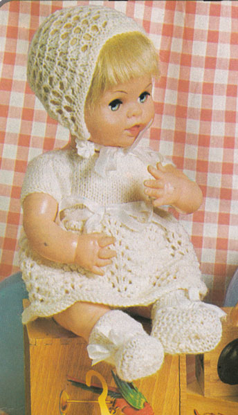 Knitting Patterns For Baby Dolls Clothes Old Style : Vintage knitted dolls clothes patterns available from The Vintage Knitting Lady