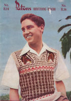 vintage fair isle mens tank top 1940s