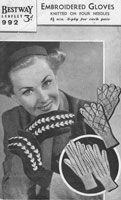 vintage embroiderd knitted gloves knitting patterns 1940s
