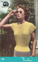 vintage ladies summer top knitting pattern from 1950s