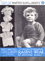 vintage knitting pattern for boys suit from 1930s
