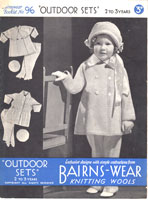 vintage girls outdoor set knitting pattern from 1930s with cute hat