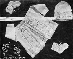 vintage knitting pattern for baby matinee set