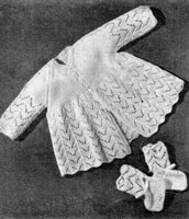 vintage baby knitting pattern for baby matinees set