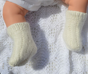 vintage cream amgora baby socks hand knitted