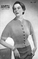 vintage ladies batwing jumper knitting patterm from late 1940s