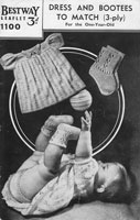vintage baby knitting pattern for baby dress set 1940s