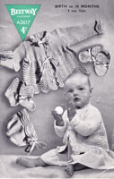 vintage baby knitting pattern for baby matinee set with bonnet 1940s