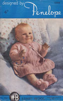 vintage baby knitting pattern for baby dress set 1940