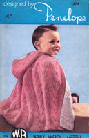vintage baby knitting pattern for baby cape 1940s