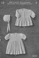 vintage patons silver baby patterns baby girls dress 1940s