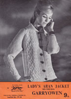 vintage ladiesarna jacket with collar knitting pattern aran