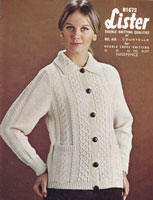 vintage ladies cardigan with collar aran knitting pattern 1960s