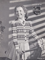 vintage girls fair isle cardigan with children horse and flowers 1940s
