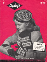 vintage fair isle beret knitting pattern from 1930s