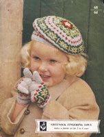 vintage child's beret in fair isle 1950s