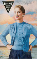 vintage ladies knitting pattern for 1950's cardigan