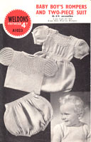 vintage baby knitting pattern roimer and knicker set from 1940s