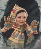 vintage fair isle hood and scarf set fro young girl form 1940