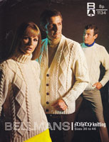 vintage knitting pattern for aran polo neck and cardigan for him or her