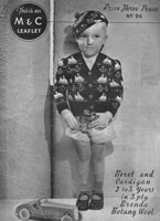 vintage boys fair isle cardigan with sail boats and beret 1930s