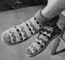 vintage knittibng pattern for ladies fair isle slippers 1940s
