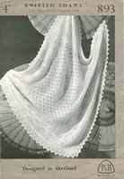 vintagte knitting pattern for baby shawls